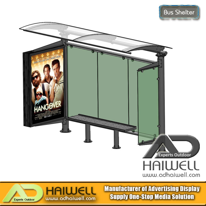 Outdoor Street Bus Stop Shelter con Mupi Advertising Display Light Box