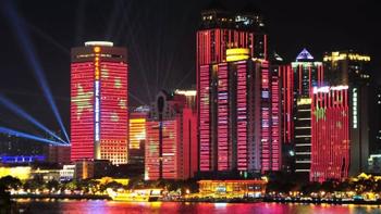 Celebrate 2019 China National Day con trasparente Display LED Visualizza